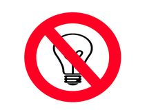 NO Incandescent Light bulb SIGN Royalty Free Stock Images
