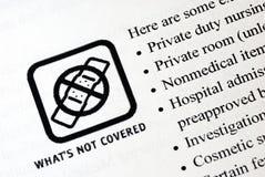 No incluido en el seguro médico Fotografía de archivo libre de regalías