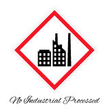 No industrial processed pictogram. Vector illustration of `No industrial processed` pictogram stylized like traffic sign. Picture with factory icon stock illustration