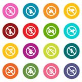 No insect sign icons many colors set Royalty Free Stock Photography