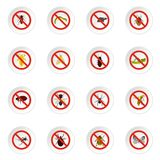 No insect sign icons set, flat style Royalty Free Stock Photo