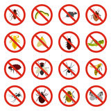 No insect sign icons set, flat style Stock Photos