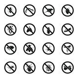 No insect sign icons set, simple style Royalty Free Stock Photos