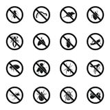No insect sign icons set, simple style. No insect sign icons set in simple style for any design stock images