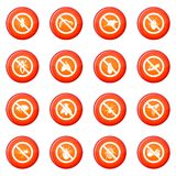 No insect sign icons vector set Stock Image