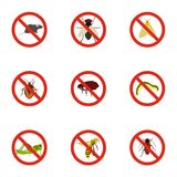 No insects icons set, flat style Royalty Free Stock Images