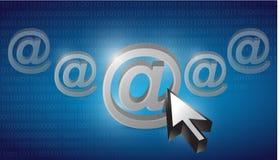 No Internet selecionado em um fundo binário azul Imagens de Stock