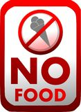Prohibition of introduction of food in red isolated. No introduction of food with an ice cream. An image that can be used in all those places where it is not stock illustration
