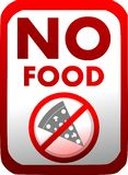 Prohibition of introduction of food in red isolated. No introduction of food with a slice of pizza. An image that can be used in all those places where it is not vector illustration