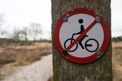 No jeździć na rowerze znaka Obrazy Stock