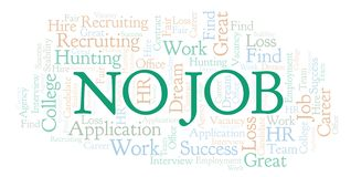 No Job word cloud. Wordcloud made with text only vector illustration