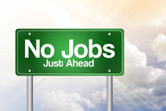 No Jobs Green Road Sign Royalty Free Stock Photography