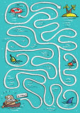 No jogo do labirinto do mar Imagem de Stock