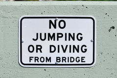 No Jumping or Diving Sign Royalty Free Stock Image
