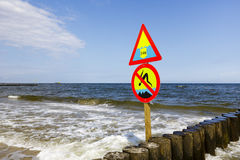 No Jumping and Large Depth warning sign Stock Photo