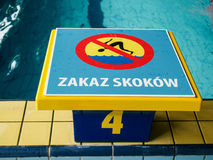 No jumping sign on pool, Poland Royalty Free Stock Photo