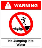 No jumping into water Stock Photo