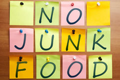 No junk food. Words made by post it Royalty Free Stock Photos