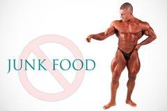 No junk food, bodybuilder Royalty Free Stock Photos