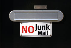 No junk mail. Door with a name plaque, a post slot and a no junk mail sign Stock Images