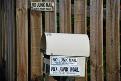 No Junk Mail, Australian Post Only Stock Image