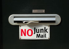 No junk mail with newspaper. Door with a name plaque, a post slot with a newspaper in it and a no junk mail sign Stock Images