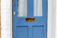 No junk mail precaution on door, London. England Stock Photo