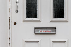 No junk mail precaution on door, London. England Stock Photos
