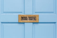 No junk mail precaution on door, London. England Stock Images
