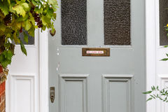No junk mail precaution on door, London. England Royalty Free Stock Photo