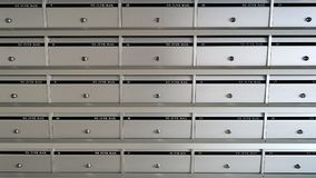 No junk mail, silver metal mailbox pattern with lockable center in apartment building stock image