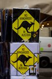 No kangaroos in Austria symbol on T-shirt souvenirs. Stock Photos