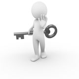 No key. 3D anonymous man holding a key behind him with a negative gesture Stock Image