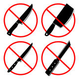 No knives or no weapon signs. No weapon allowed symbols. Prohibited icon isolated on a white background. Vector illustration Royalty Free Stock Image