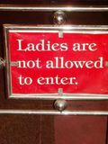 No ladies allowed sign stock images