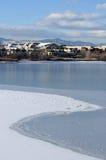 No lado do lago congelado imagens de stock