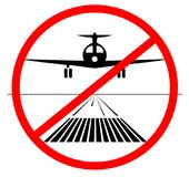 NO landing Icon. plane no lands on the runway isolated. vector illustration. do not landing down vector illustration