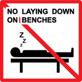 No laying down on benches Sign Royalty Free Stock Photography