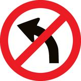 No left bend direction sign Stock Photography