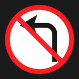 No left prohibition turn sign flat icon Royalty Free Stock Photos