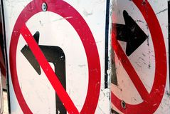 No Left or RIght Turn Construction Signs Royalty Free Stock Image