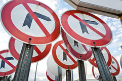 No Left Right Turn Sign Royalty Free Stock Photo