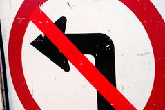 No Left Turn Construction Sign Stock Photography