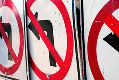 No Left Turn Construction Signs Royalty Free Stock Images