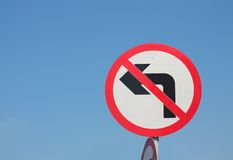 No Left Turn Royalty Free Stock Image