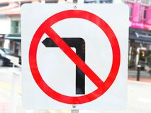 No Left Turn Sign Stock Images