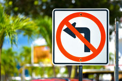 No Left Turn Sign Stock Image