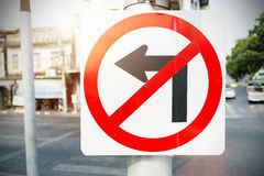 No Left Turn Sign on the way Stock Image