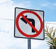 No left turn Stock Photography