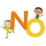 NO letter and children Stock Photos